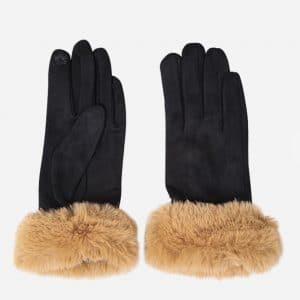 Black Suede Camel Fur Gloves
